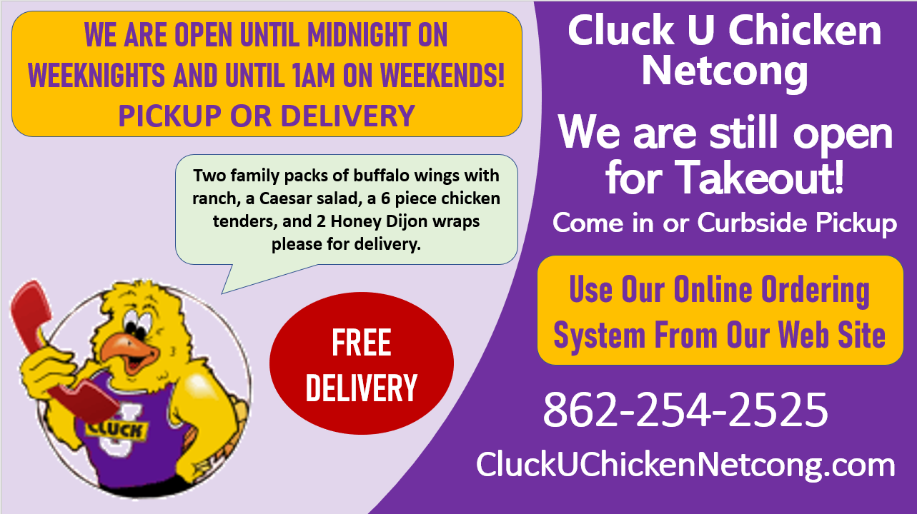 Cluck U Chicken Netcong takeout graphic